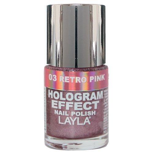 Layla Hologramm Effekt (Layla Cosmetics Hologram Effect Nagellack - retro pink, 1er pack (1 x 0.01 l))