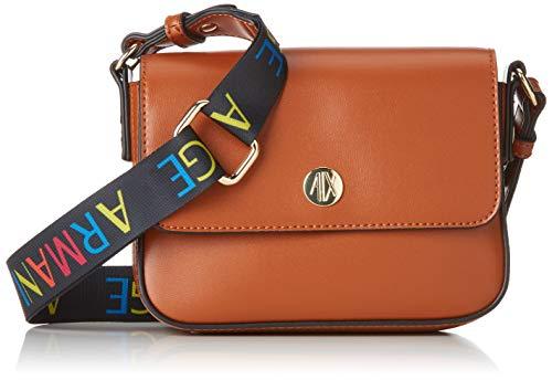 Armani Exchange Damen Small Crossbody Bag With Round Logo Umhängetasche, Braun (Cognac), 18x8x21 cm
