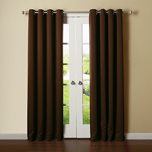 Best Home Fashion Thermal Insulated Blackout Curtains - Stainless Steel Nickel Grommet Top - Chocolate - 52W x 108L - (Set of 2 Panels) by Best Home Fashion