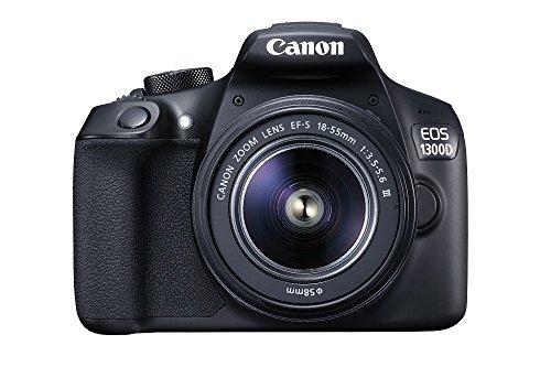 """Canon EOS 1300D - Cámara réflex de 18 Mp (pantalla de 3"""", Full HD, 18-55 mm, f/3.5-5.6, NFC, WiFi), color negro - Kit con objetivo EF-S 18-55 mm DC III (versión europea)"""