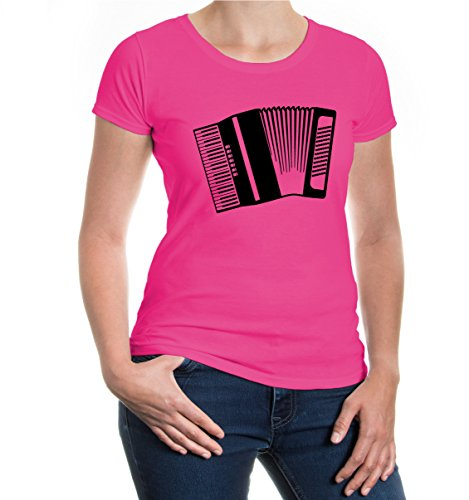 buXsbaum® Girlie T-Shirt Akkordeon-Instrument-Silhouette Fuchsia-Black