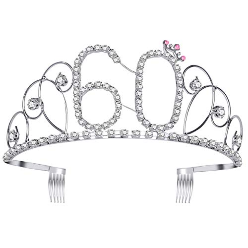 60 cumpleaños Tiara Crystal Rhinestone cumpleaños
