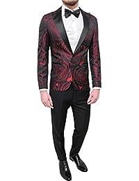 Elegante Class Fb Uomo Slim Damasco Fit Completo Tessuto Abito Smoking Vestito Raso Rosso Floreale Sartoriale trCQshd