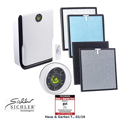 Sichler Haushaltsgeräte Luftfilter: 6-Stufen-Luftreiniger mit UV-Licht, Ionisator und 2-fachem Filtersatz (Luftreiniger HEPA)