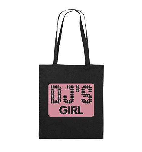 Comedy Bags - DJ'S GIRL - NEGATIV PUNKTE - Jutebeutel - lange Henkel - 38x42cm - Farbe: Schwarz / Pink Schwarz / Rosa