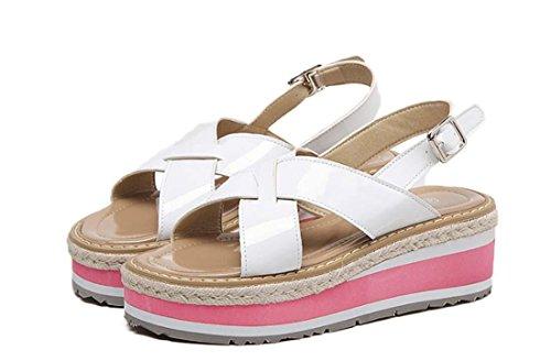 Aufzug römisch Farbabstimmung Offener Zeh Leder All-Match Mode Keilabsatz  Sandale für Frauen White
