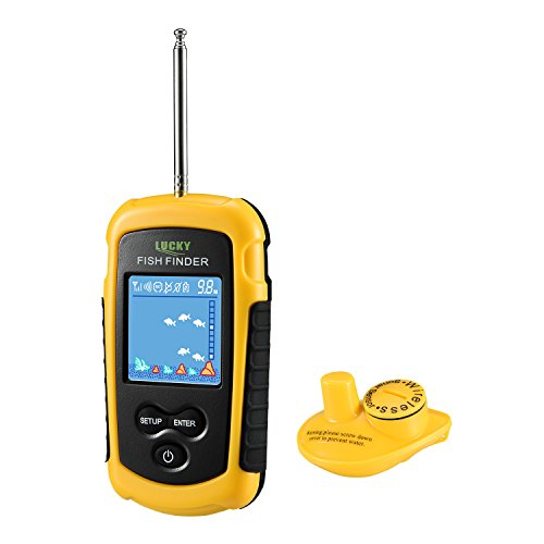 LUCKY Fischfinder Wireless Farbe Tragbarer Portable Angeln Sonar Sensor Verkabelt LCD Tiefe Finder Echolot (Portable Lcd)
