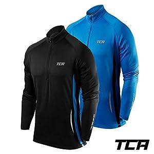 TCA Winter Run Herren Thermo Trainingsjacke mit Viertel-Reißverschluss