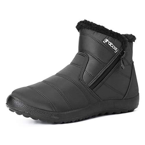 Botas de Nieve para MujerNiñas,Camfosy BotinesdeInviernoImpermeables Zapatos Planos TacónPlanoCiudadBotas...