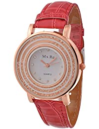KMS Analogue White Dial Women's Watch - RED_Mxre_2RoundStone
