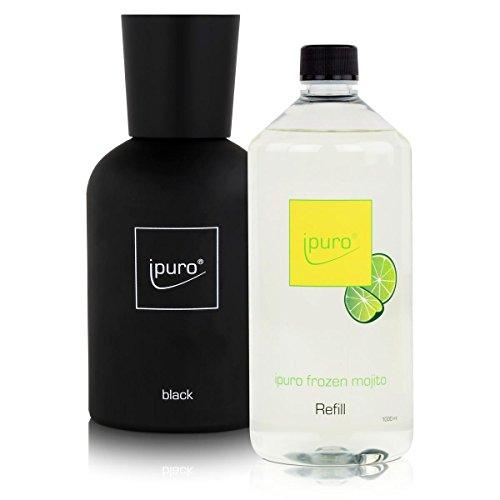 Ipuro Flakon Black - inklusive 5 Fasersticks & Frozen Mojito Duftöl 1 Liter