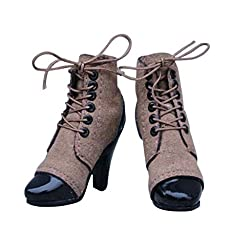 Imported 1/6 Brown Women Female Ankle Lace Up Boots Shoes For 12