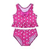Freebily Mädchen Bikini-Set Uv-Schutz Punkte Zweiteiler Badeanzug Tankini Bikini Set Bademode für Strand Baden Kleinkind/Kinder Rose 92-98/2-3 Jahre