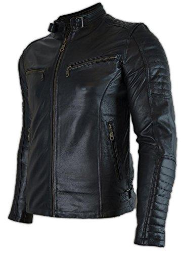 MDM Motorrad Leder Jacke mit Protektoren (L)