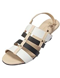 Fab Bella Women's White Beige & Black Wedge
