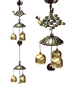 Lilone Gifts Home Decor Feng Shui Peacock Bird Windchime Hanging for Love Cure - Wind Chimes 6 Bells (Large)