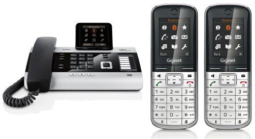 Siemens Gigaset DX800A DUO SET mit 2x SL400H Mobilteil – ISDN, Anrufbeantworter, Bluetooth® ECO DECT, schwarz