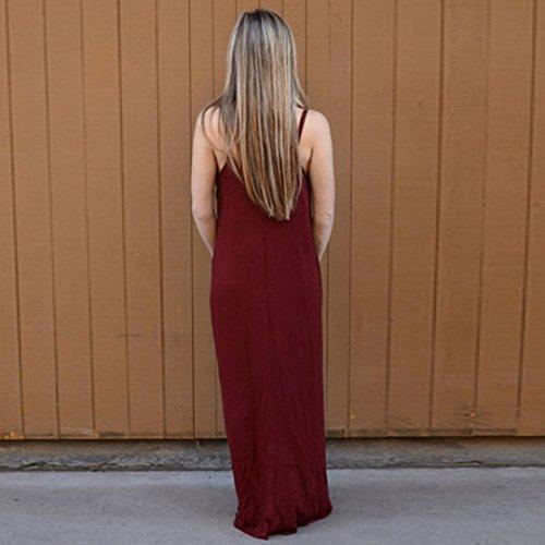 Minetom Donna Estivi Vestito Lungo Casuale Colore Solido Elegante Senza Manica V Collo Abito Maxi Vestitini Beach Dress Partito Spiaggia Vino rosso2