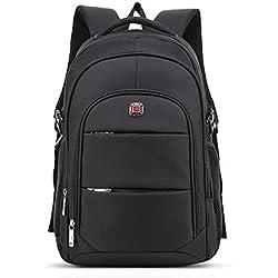 FANDARE Casual Mochila 17 Pulgadas Laptop Daypack Hombre/Mujer Mochilas Escolares Mochilas de a Diario Poliéster Negro Grande