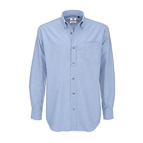 B&C Oxford Herren Hemd, langärmlig Oxford Blau