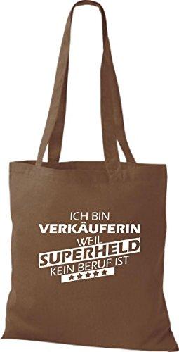 Shirtstown Stoffbeutel Ich bin Verkäuferin, weil Superheld kein Beruf ist mittelbraun