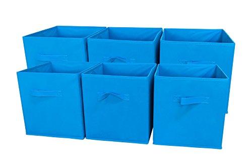 sodynee Faltbare Reinigungstuch Aufbewahrung Cube Korb Tonnen Organizer Container Schubladen, 6Pack, beige ozeanblau
