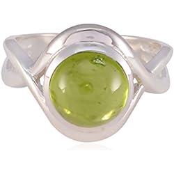 natürlicher Edelstein runden Cabochon Peridot Ringe - 925 Silber grünen Peridot natürlichen Edelstein Ring - Kunst & Sammlerstücke Top-Seller-Geschenk für Muttertag Stapelring
