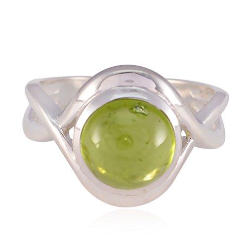 echte Edelsteine   runden Cabochon Peridot Ring - Sterling Silber grünen Peridot echte Edelsteine   Ring - Schmuck Zubehör meistverkaufte Gegenstände Geschenk für Silvester Tag Stapeln Ringe (Peridot-ring Silber Baby-sterling)