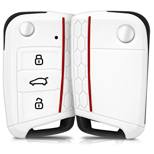 kwmobile Accessoire clé de Voiture pour VW Golf 7 MK7 - Coque pour Clef de Voiture VW Golf 7 MK7 3-Bouton en Silicone Blanc - Étui de Protection Souple