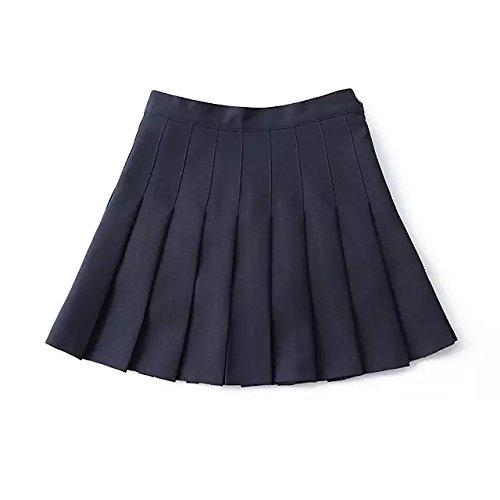 hippolo wschool Box Falte Uniform Druck Faltenrock Slim Dünn Bundfaltenhose Tennis Röcke Mini Kleid navy L (Navy Kleid Uniform)