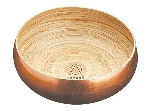 Master Class 26 cm tamaño Grande Gillian Hollingsworth Artesa Lacado de Cobre Cuenco de bambú, Dorado