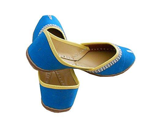 kalra Creations Chaussures de indien ethnique en cuir traditionnel en velours pour femme bleu ciel