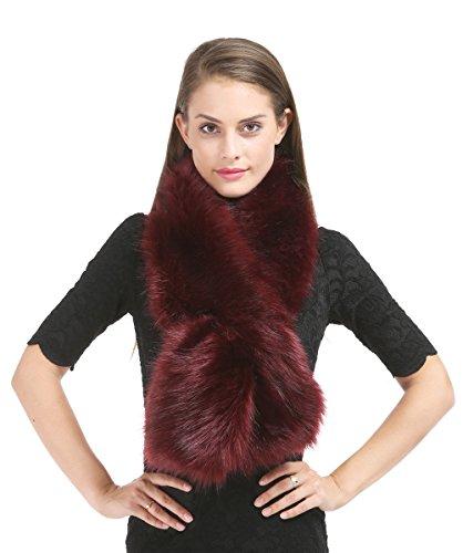 Saferin Falso invierno abrigo de la bufanda de piel sintética de las...