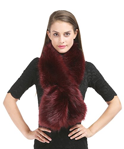 fake fur schal Saferin Frauen Winter Fake Faux Pelz Schal Kragen Schal (Burgund1)