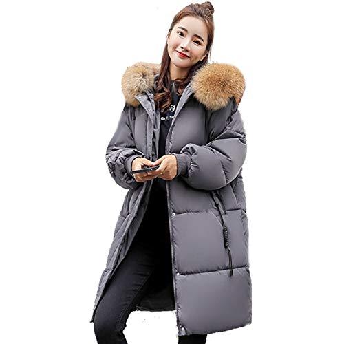 Lange Jacke der Frauen Mantel, Wintermantel Womens Hooded Ultraleichte Daunenjacke Schlank Feste Lange Daunenjacke Weibliche Parkas,Gray,XL (Face Daunenjacke North Xl Womens)