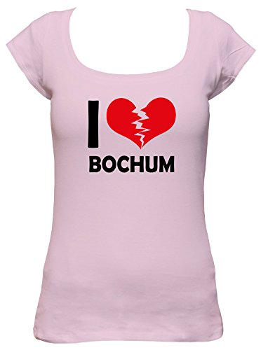 I don\'t love Bochum Fun Damen Boat Neck T-Shirt, Größe:XL;Farbe:rosa