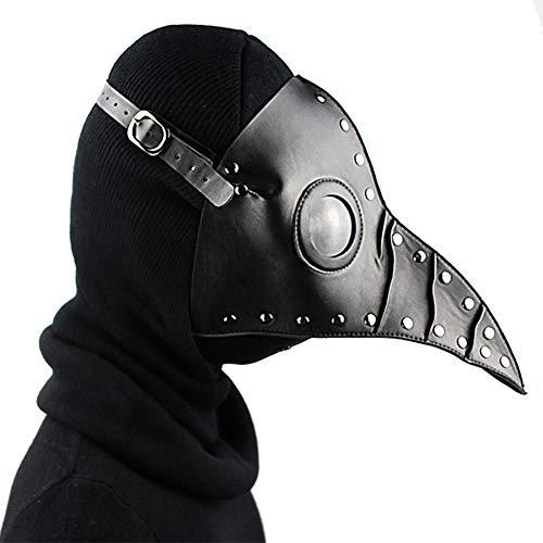 (Steampunk Pest Doctor Bird Maske Lange Nase Schnabel Cosplay Punk Halloween Kostüm Requisiten Phantom der Oper Vintage Schwarz/Weiß/Braun Mechanische Männer Venezianische Maske,Black)