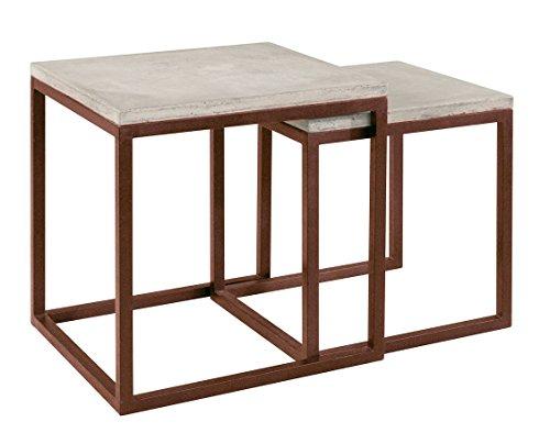 Meubletmoi Table gigogne en béton et métal Vieilli Effet rouillé- Tables d'appoint Style Moderne loft - Design Industriel