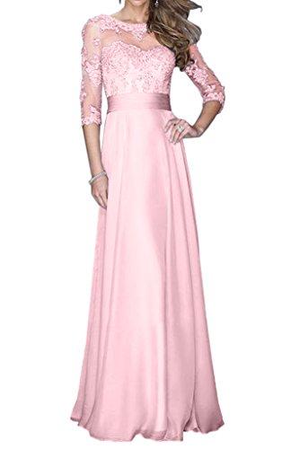 Promgirl House Damen 2016 Schoen Spitze A-Linie Rundkragen Abendkleider Ballkleider mit Lange Aermel Rosa