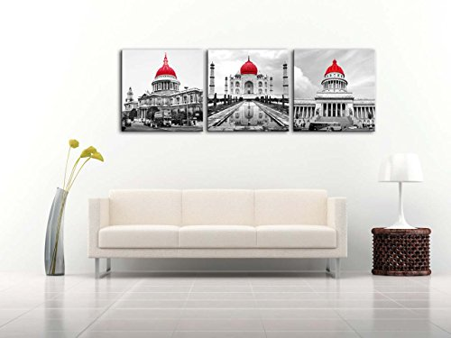 Impresión de Lienzo de Pared Arte Imagen negro blanco y rojo mundo edificios famosos de la Catedral de San Pablo Taj Mahal casa blanca 3piezas Cuadros modernos enmarcado arte arquitectura fotos foto impresiones