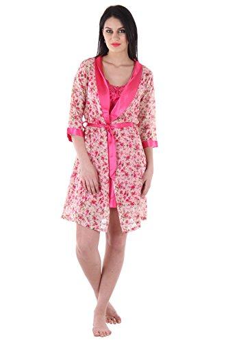 Frauen bridemaids mini Nachthemd eingestellt Chiffon Nachtwäsche fertig robe- rosa Rosa