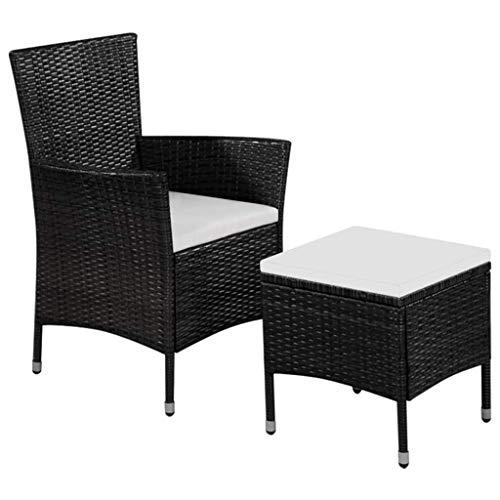 Tidyard 2 pcs Chaise de Jardin | Canapés d'Extérieur | Chaise d'extérieur avec 1 Chaise et 1 Tabouret en Résine Tressée Noir et Blanc Crème