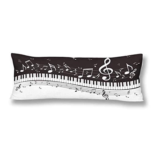 CiCiDi Seitenschläferkissen Kissen-Bezug 40x145 cm Schwarz weiße Musik Anmerkungs Klavier Tastatur Musiknoten Atmungsaktives Kissenhüllen mit Reißverschluss Baumwollen und Polyester -