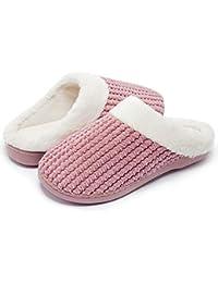 Senbore Zapatillas de Estar por casa con Forro de vellón para Mujer  Antideslizantes Espuma de Memoria 40cd11f0a018