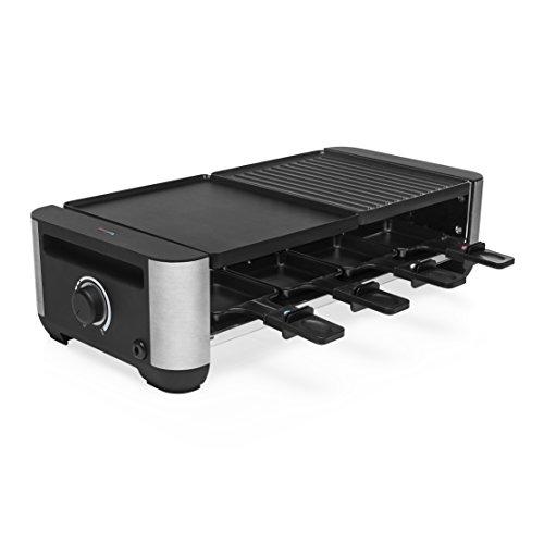 Princess premium gridlle/grill raclette, 8 padelline, piastra in alluminio reversibile, nero