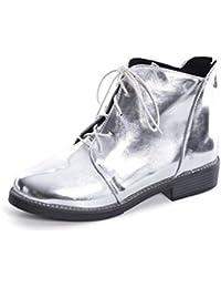 Plataforma para Mujer Botines con Cordones Volver Cremallera Punta Redonda Pisos SóLidos Creepers ImpresióN Inferior Zapatos