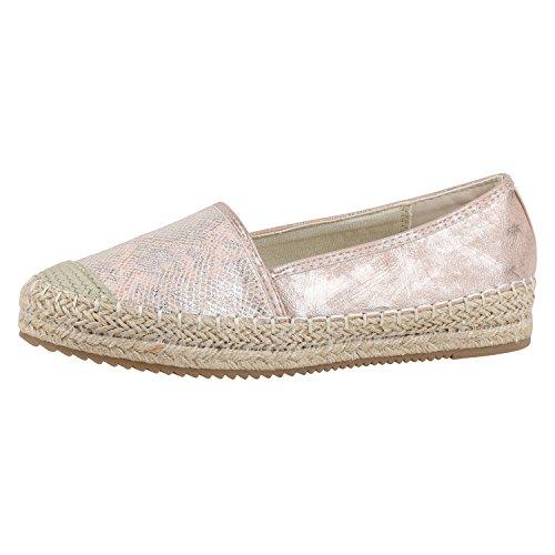napoli-fashion Damen Slipper Espadrilles Bast Metallic Flats Freizeit Schuhe Rosa Pink 38 Jennika