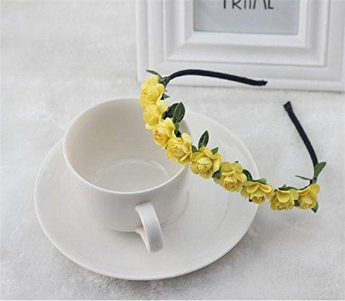 Zorux Mode-Rosen-Blumen Kronen-Stirnband Garland Blumenhaar-Band Zubeh?r Festival Hochzeit Haarschmuck f¨¹r Frauen Girl [Gelb]