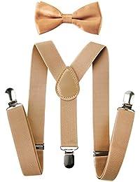 Tirantes para niños Axy con forma de Y con pajarita, con 3 pinzas extrarresistente, color liso
