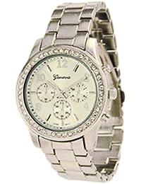 Geneva Platinum Women's 9073.Silver Silver Plastic Quartz Watch with Silver Dial